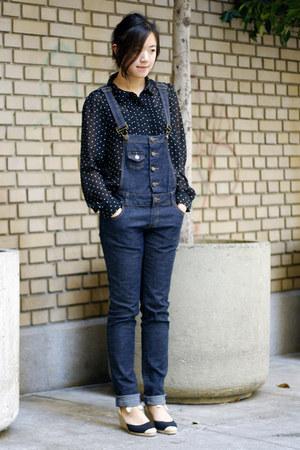 black Halogen blouse - navy asos wedges - navy Shop Royal Mint romper