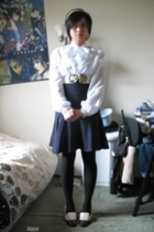 vintage from Ebay blouse - American Apparel skirt - tights - H&M belt - vintage