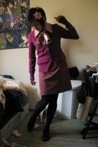 purple cardigan H&M top - black oxford naturalizer shoes - purple vintage dress