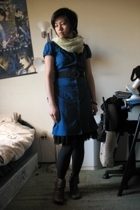 thrifted from Crossroads dress - dress - Fly London boots - Forever21 scarf