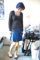 blue Urban Outfitters dress - vintage shoes - blue handmade hat