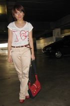 white bcbg max azria shirt - beige The Executive pants - brown random belt - red