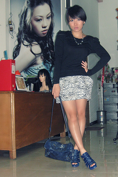 black NyLa top - black Closet Queen skirt - blue belle shoes - blue balenciaga a