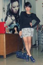 black NyLa top - black Closet Queen skirt - blue belle shoes - blue balenciaga a