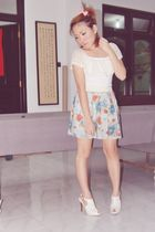 white Byutik Indonesia top - blue unbranded skirt - white Anne Michelle shoes -