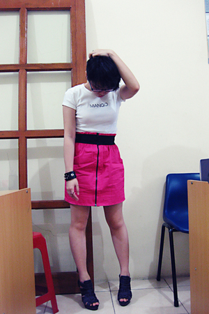 Mango shirt - UMBRELLA skirt - belle shoes - bracelet