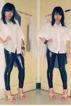 blouse - leggings - GoJane shoes