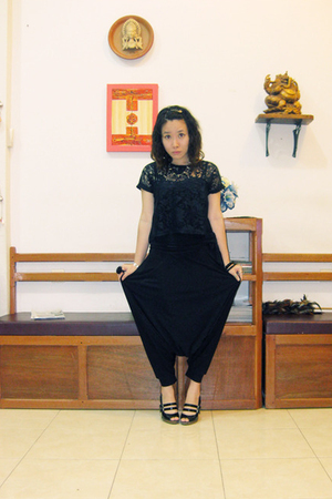 thrifted top - top - pants - Charles & Keith shoes