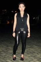 vest - shirt - leggings - Gucci shoes - accessories