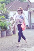 navy versace jeans - light pink Forever21 shirt - coral Chloe Room bag