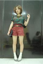 dark green satin blouse - maroon suede selfish pants