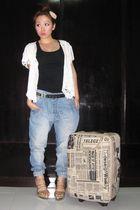 white from Bali top - black Zara shirt - beige random find accessories - pink ra