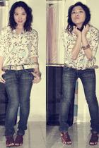 top - Bebe jeans - Zara shoes - belt