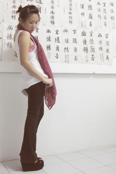 black suede wedges shoes - pink leopard scarf - pink leopard La Senza bra
