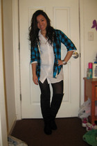 blue random from Hong Kong blouse - white Forever21 blouse - black Forever21 tig