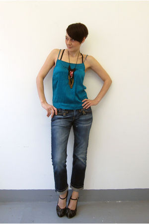 blue unknown blouse - blue Fornarina jeans - blue unknown shoes - black Vanessa