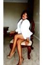 White-thrifted-blazer-charlotte-russe-heels