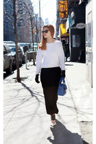 white Topshop top - black DKNY pants - black Prada glasses