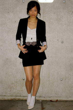black Talula blazer - white H&M top - black H&M skirt - white H&M socks - beige