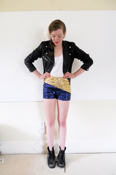 black leather biker H&M jacket - black lace-up thrifted boots - gold H&M shorts