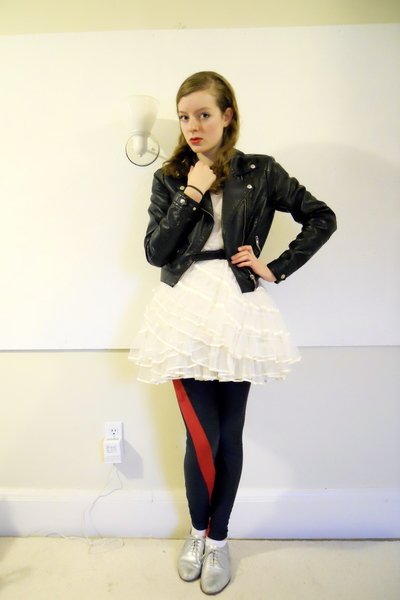 H&M jacket - vintage dress - JL leggings - thrifteddiy shoes