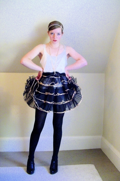 DIY top - vintage skirt - CVS tights - Nine West shoes - thrifted necklace