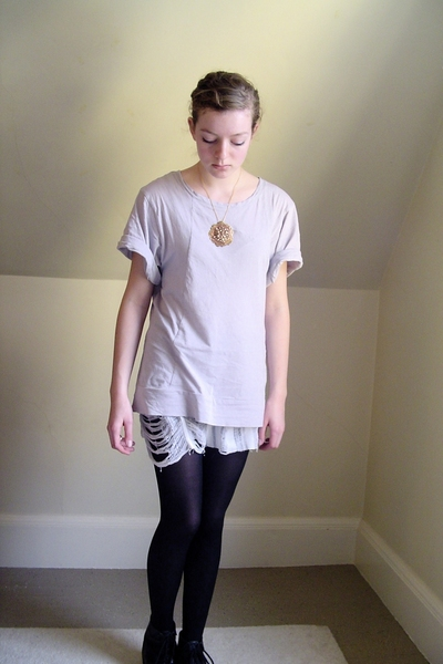 H&amp;M t-shirt - DIY top - tights - thrifted shoes - made by me necklace