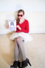 Red-thrifted-sweater-white-vintage-skirt-gray-primark-stockings-black-nine