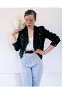 Black-h-m-jacket-white-diy-top-gray-secondhand-pants-urbanogcom-boots