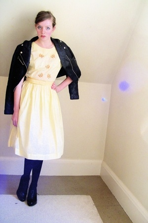 H&M jacket - vintage dress - tights - Nine West shoes
