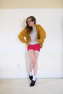 Yellow-vintage-sweater-white-thrifted-sweater-pink-h-m-shorts-white-socks-