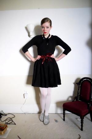 silver oxford thrifted diy shoes - black lace halter Rodarte for Target dress