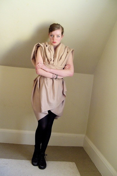 self-made dress - CVS tights - thrifted shoes - old belt - old bracelet - found 