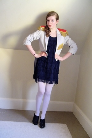 vintage jacket - H&amp;M dress - thrifted tights - Nine West shoes