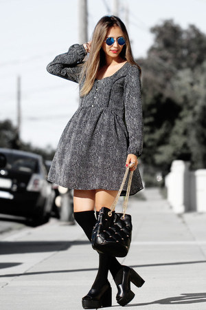 black Macys boots - black MinkPink dress - black deux lux bag