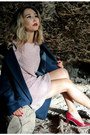 Salmon-oasis-dress-navy-oasis-coat
