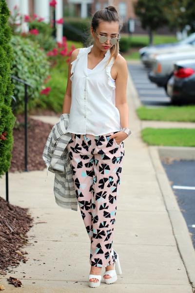 white stripes River Island blazer - white Forever 21 blouse - white Zappos heels