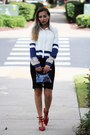 Black-lace-oasap-skirt-white-lace-oasap-blouse-blue-oasap-earrings