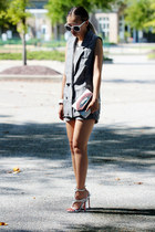 silver milanoo bag - charcoal gray Chicwish suit - silver milanoo sandals