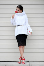 white OASAP sweater - red heelscom sandals - black Queenhorsfall Closet skirt