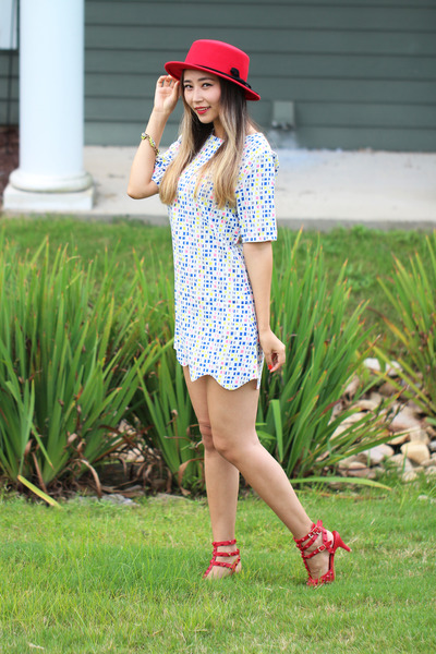 red OASAP hat - sky blue lovemartini dress - red sammyicon socks