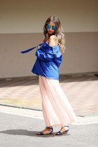 blue trench coat Martofchina coat - light pink Forever 21 skirt