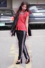 Black-forever-21-jacket-red-chiffon-forever-21-blouse-black-asos-pants