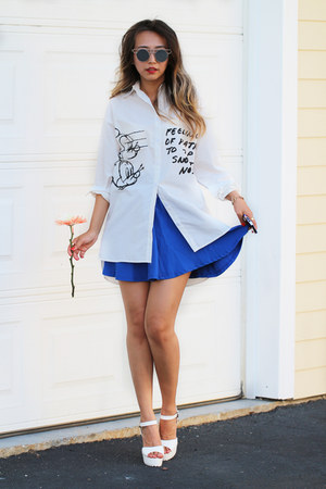 white printed OASAP shirt - blue Queenhorsfall Closet skirt