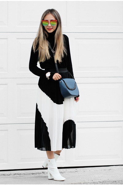 white Public desire boots - black Shopbop sweater - black RUNWAY TO STREET skirt