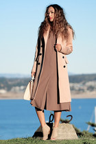 neutral SARAH LAI coat - coral Forever 21 dress - neutral Nina heels