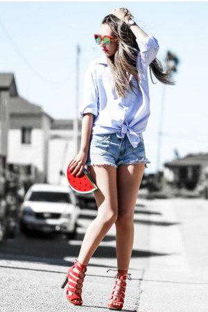 ruby red Nasty Gal bag - light blue Wet Seal shorts