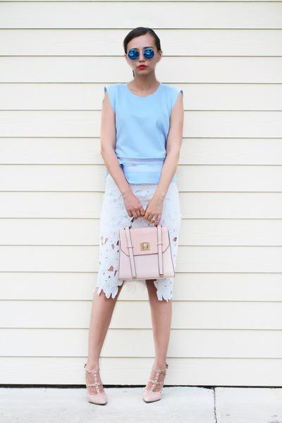 light pink asos bag - beige milanoo pumps - light blue blackfive top