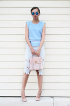 light pink asos bag - beige milanoo pumps - light blue blackfive top