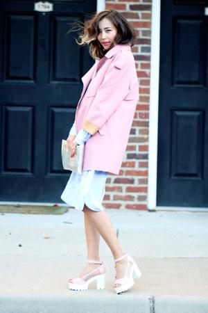 bubble gum Chicwish coat - light blue Front Row Shop dress